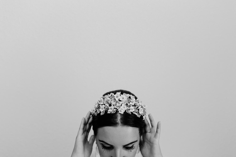 detalle del tocado de la noiva